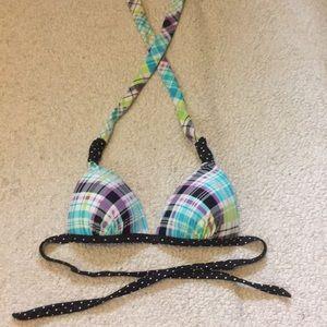 Hula honey polka dot & plaid stripe bikini top